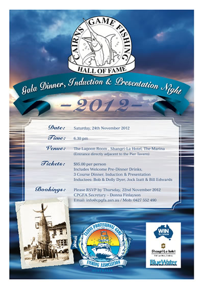 Cairns Game Fishing Hall of Fame Dinner Information